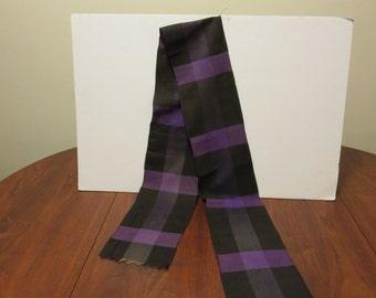 "5 dollar Summer SALE Vintage Victorian Edwardian 1800s 1900s scarf muffler fabric trim black purple plaid checks 1 yard 31"""