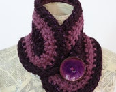 Crocheted Collar, Purple Sparkle and Mauve with Coconut Shell Button Closure