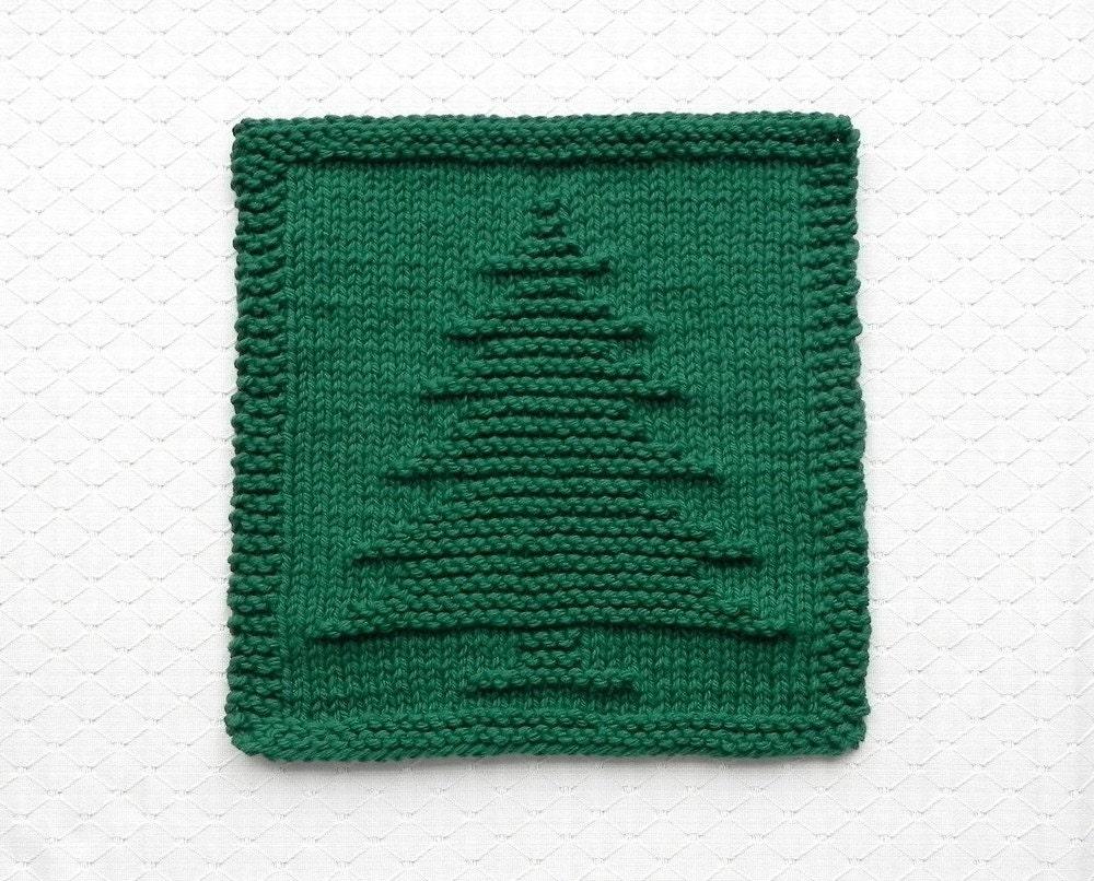 Knitting Pattern Dishcloth Christmas Tree : CHRISTMAS TREE Knit Dishcloth Forest Green 100% Cotton Hand