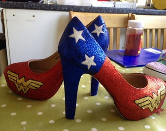 Wonderwoman DC comic inspired glitter party high heeled shoes