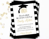 Monogram Graduation Invitation, Black and Gold Graduation Invitation, Class of 2016, Monogram Invitation, DIY Printable
