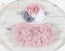 Vintage Pink- BABY BLOOMER and HEADBAND Set - Chiffon Ruffles Diaper Cover - Chiffon Baby Bloomer - Newborn Photo Prop - Baby Bloomer Set
