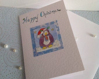 Penguin Christmas Greeting, Cute Penguin greeting, Happy Christmas Greeting Card,Penguin Christmas Card