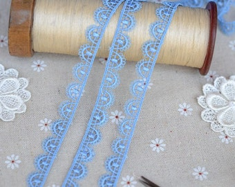 "4 Yards Lace Trim Blue Exquisite Alice Floral Wedding 0.47"" width"
