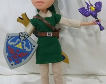 Female Link doll (Legend of Zelda) with Master Sword and Hyrule Shield