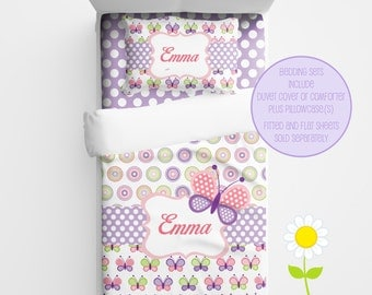 Personalized Butterfly Bedding for Kids - Butterfly Duvet or Comforter for Girls - Personalized Duvet Set for Kids - Custom Kids' Comforter