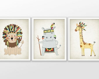 Tribal Safari Animals Nursery Print Set Of 3 - Tribal Safari Animal - Baby Shower Gift - Kids Playroom Decor - Safari Nursery Pictures #36