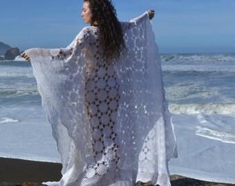 vintage 60s CROCHET Wedding DRESS | White Crochet Lace Caftan Maxi Boho Wedding Dress | Modest Styling