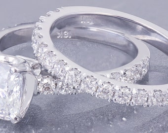 18K White Gold Cushion Cut Forever One Moissanite and Diamond Engagement Ring And Band 1.88ct