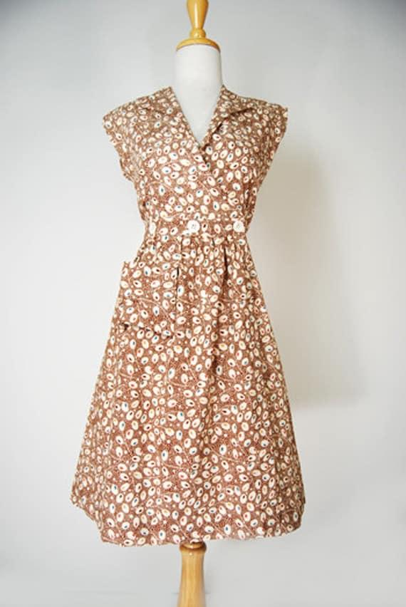 1930s Style Fashion Dresses Vintage Reproduction 1930s Cotton Day/House Dress Retro Print Brown Olives  AT vintagedancer.com