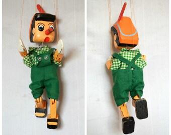 Vintage Pinoccio Marionette, Wooden Puppet 1950s, Retro Art decor, Mobile Puppet, Vintage Puppentheater, Handmade marionette, Collectible
