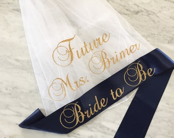 bachelorette party sash and veil set, bachelorette veil, bride to be sash, future mrs veil, personalized veil, mint and gold glitter sash