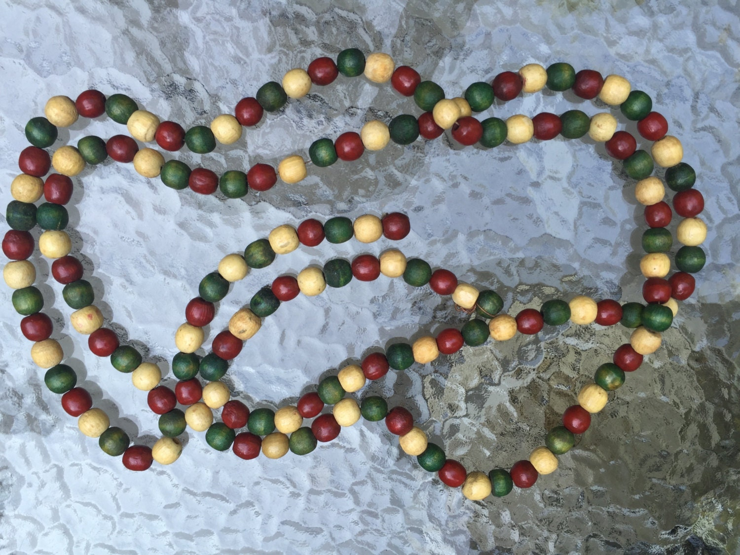 Garland Wooden Beads Holiday Tree Red Green By