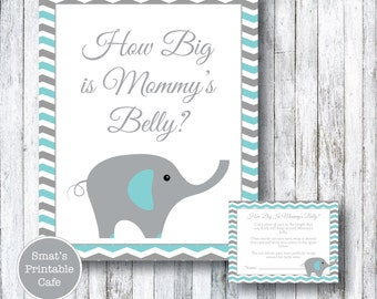 Teal & Gray Chevron Elephant Baby Shower How Big Is Mommy's Belly Game - Printable Baby Shower Games - Aqua - Gender Neutral - Boy Girl