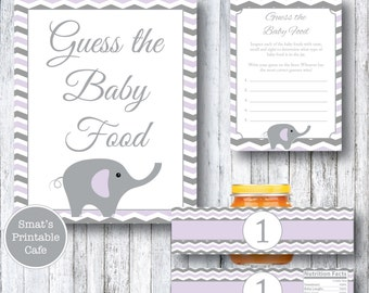 Purple & Gray Chevron Elephant Baby Shower Guess the Baby Food Game - Printable Baby Shower Games - Jar Labels - Gender Neutral - Boy Girl