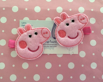 Peppa pig inspired hair clips