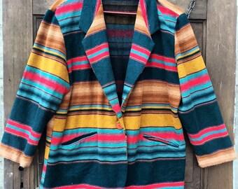 Vintage 70's Women's Serape Blanket Blazer Jacket
