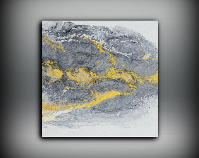 "Art Painting Acrylic Paintings Abstract Small Wall Art Canvas Gold and Silver Home Decor Small Canvas Art by LDawningScott 8"" x 8"""