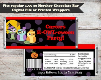 Halloween Owls Candy Bar Wrapper, Halloween Party Candy Bar Wrapper, Halloween Owls, Halloween Party Favor Digital File or Printed Wrappers