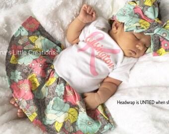 Personalized Bodysuit Dress, Custom BodySuit Dress, Baby Dress with inital and name and Self Tied Headwrap/Headband Set