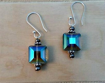 green ab crystal earrings-square crystal earrings-green and silver earrings-crystal earrings-sterling silver-stainless steel