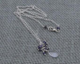Crystal + Iolite Cluster + Sterling Silver Necklace