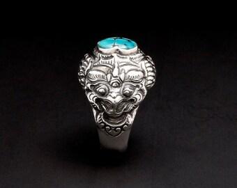 Garuda - TQ - Ring - Sterling Silver - Turquoise - Size 8