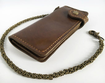 Leather biker wallet dark brown Long leather chain wallet Byzantine chain wallet Leather trucker wallet Hand woven chain Motorcycle wallet