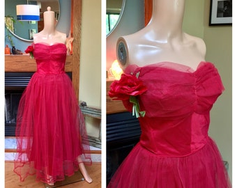 Vintage 40s 50s Tulle Net Strapless Corset Red Ballgown Roses Party Dress S XS