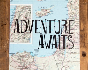 "Cyprus, Israel and Turkey Map Print, Adventure Awaits, Great Travel Gift, 8"" x 10"" Letterpress Print"