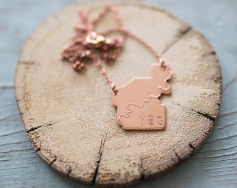 Medium Copper Etched YEG Necklace (Yeglace)