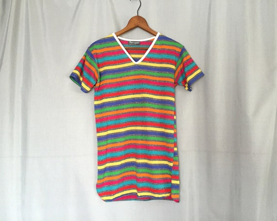 Striped Shirt Vintage Red Blue Green Yellow Gray Size Xs Or