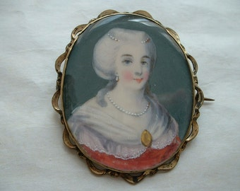 Large Georgian/Victorian hand painted portriat brooch
