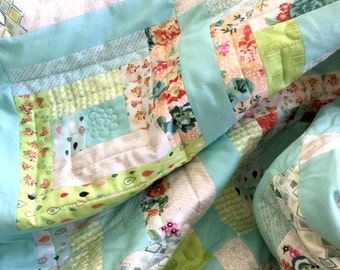 Fresh cut log cabin quilt patchwork blanket