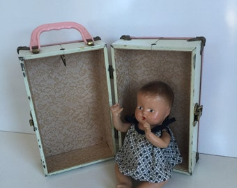 Vintage Composition Baby Doll with Case Trunk