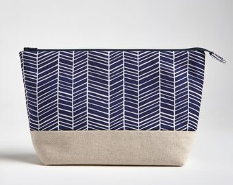 Makeup Bag with Waterproof Lining, Navy Blue Herringbone by Made on Main VT