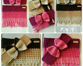 Crochet Bow Earwarmer and Scarf set