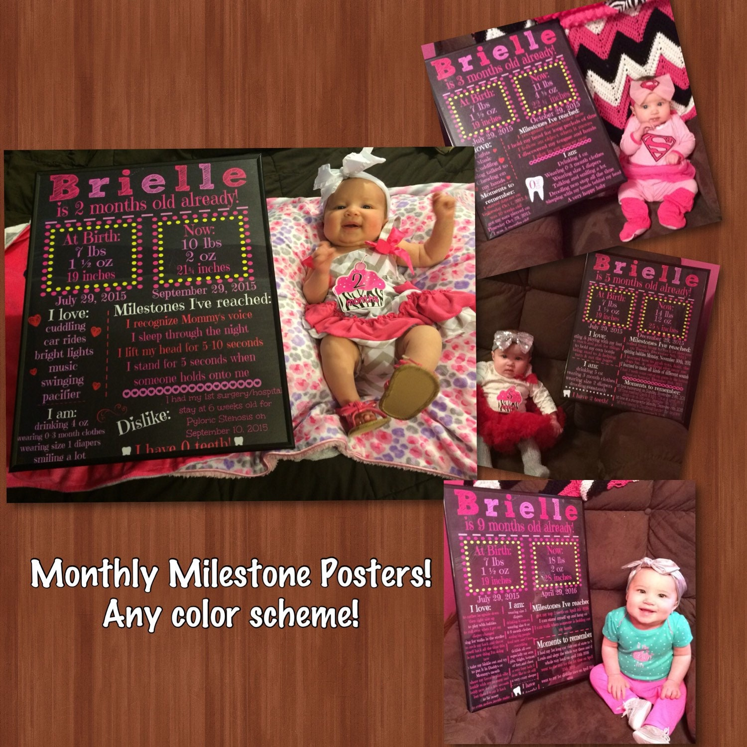 Toddler coloring milestones - Monthly Milestone Chalkboard File Blue Or Pink Monthly Milestones Blue Or Pink 9 Month Chalkboard Custom 6 Months 9 Months