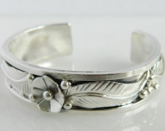 Beautiful Sterling Silver Floral Cuff Bracelet