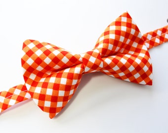 Orange Cross Check Bow Tie For Boy/Baby/Teen/Adult/With Adjustable strap/Clipon