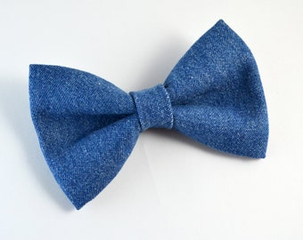 Denim bow tie /For baby/Toddler/Teen/Adult/with Adjust strap/Clip on