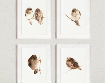 Birds, Giclee art print, Set of 4, Brown Watercolor painting, abstract bird on branch, Sparrows Image