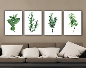Set of 4 Herbs Kitchen Art Print, Green Herb Watercolor Painting, Mint Tarragon Thyme Basil Medicinal Plants, Herbal Home Garden Wall Decor