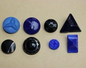 Vintage art deco glass buttons 8pcs  B0141