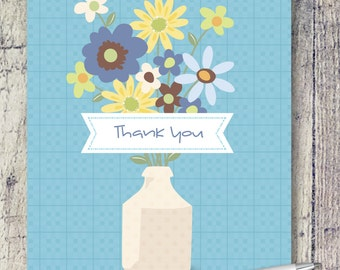 Blank Note Cards | Vase of Flowers Note Cards | Thank You Card Set | Note Card Set | Floral Note Card Set