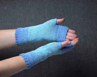 blue fingerless gloves cotton arm warmers hand warmers knitting accessories mittens wrist warmers knit fingerless gloves