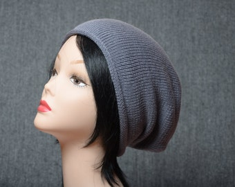 gray knit slouchy hat mens hat gift for him womens beanie hat gift for her