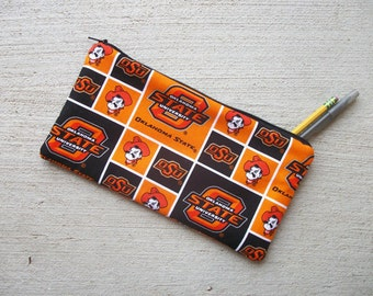 OK Cowboys Pencil Case/Cosmetic Zipper Pouch 5 x 10 inch  Eco-Friendly Padded ***Ready to Ship!