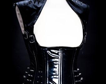 Black PVC Spiked Underbust Goth/Punk/Warrior Corset