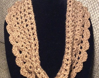 Cowl scarf, neck warmer, gift idea, tan, hand crochet, scarves,